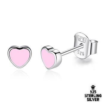 Romantic Pink Enamel Heart Stud Earrings