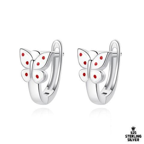 White With Red Polka Dots Butterfly Earring