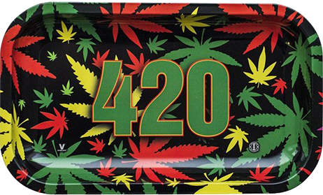 420 Rasta Metal Rolling Tray  XLarge - Fancy Puffs Smoke Shop