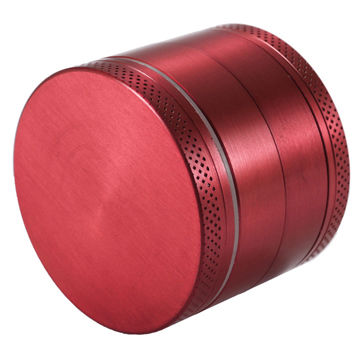 4-Piece Red Zinc Alloy Grinder - 52mm - Fancy Puffs Smoke Shop