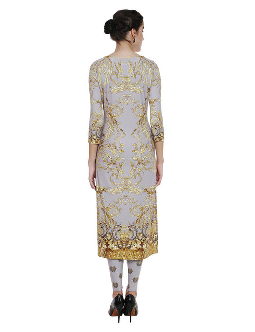 Aryana Ash Grey Kurta With Gold French Inspired Overall Print