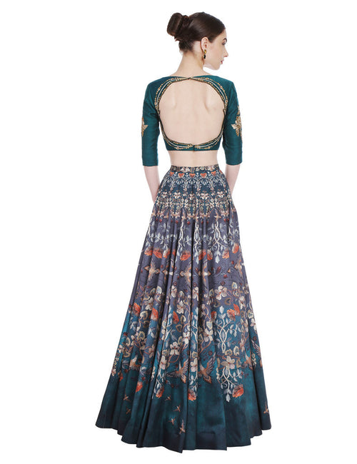 Zayda Pine Green Floral Printed Skirt