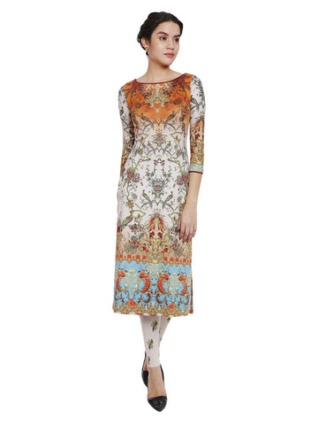 Kyra Wine Kurti With Mandarin Collar Vintage Flower Print