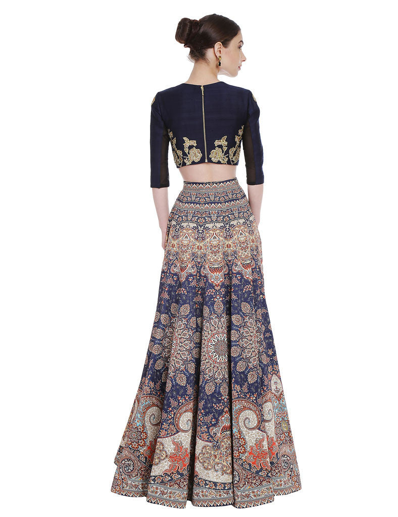 Kruti Midnight Blue Raw Silk Crop Top