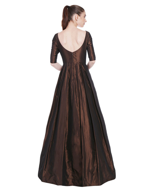 Divyani Chocolate Brown Taffeta Gown