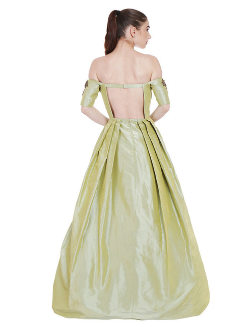 Rubina Pear Green Taffeta Gown