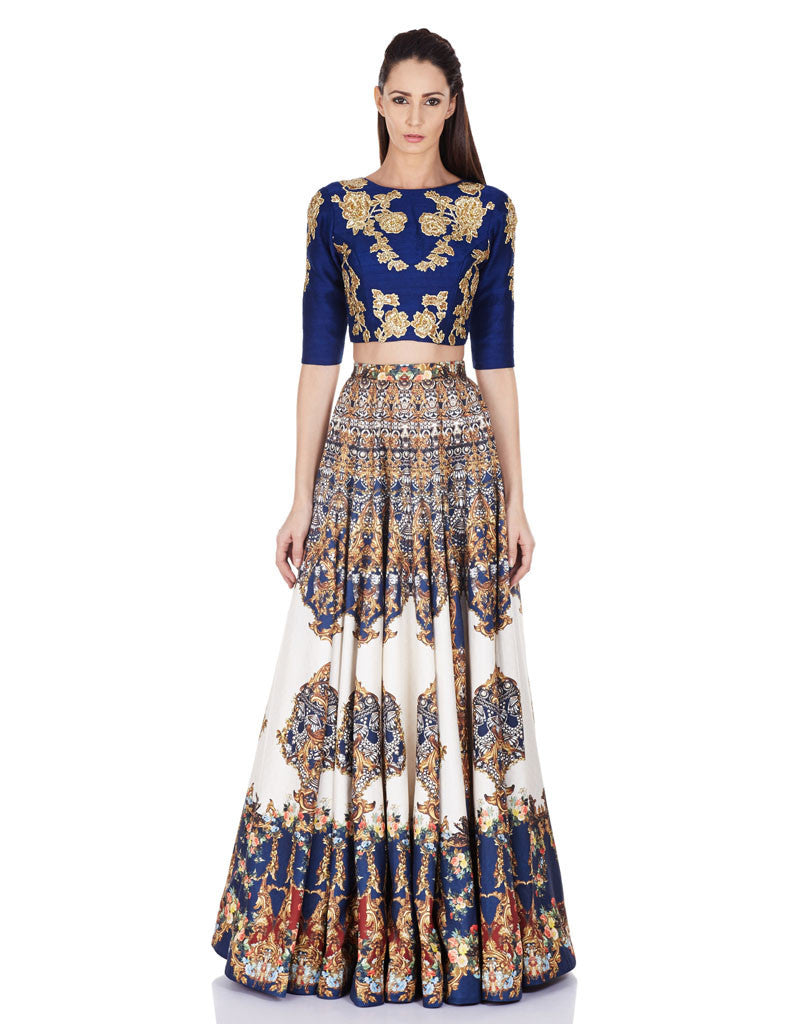 Himani Boat neck Ultramarine Blue with floral embellishment crop Top