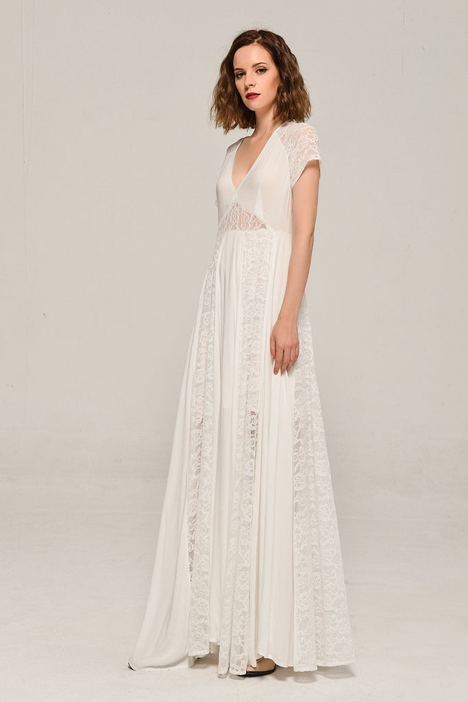 Solid Elegant My Fair Lady Lace Dress In White – Cesila