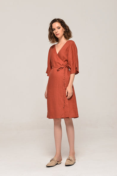 A Warm Hug Wrap Midi Linen Dress