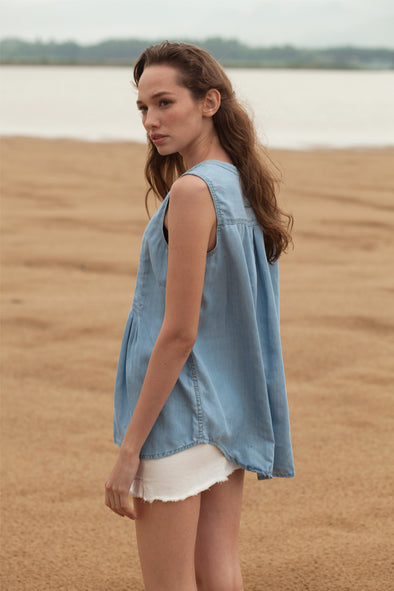 Sleeveless Button Down Denim Top