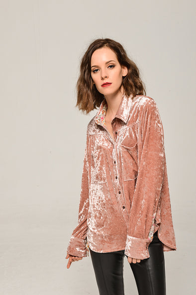 Soft  Heart Velvet Casual Blouse In Pink