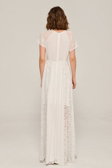 My Fair Lady Elegant Lace Dress In White