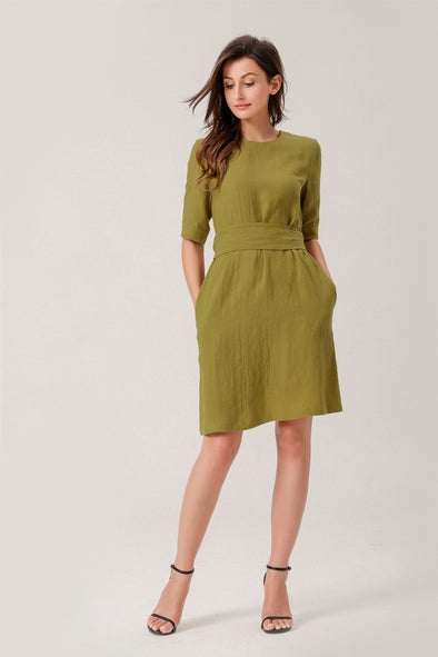 Alice Linen 1/2 Sleeves Midi Dress With Tie In Mustard Yellow
