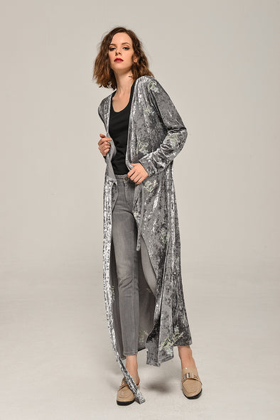 Preorder-Embroidery Velvet Wrap Maxi Dress In Gray
