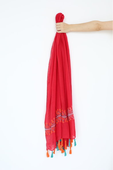 Embroidery Red Scarf With Tassel