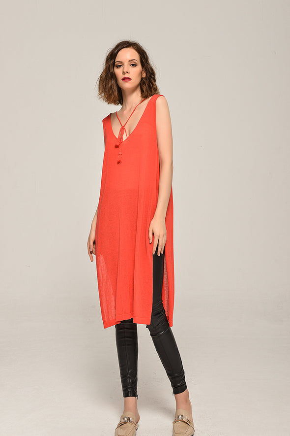 Sleeveless Knit Dress With Tassel In Red