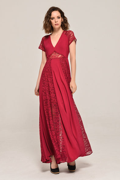Solid Elegant My Fair Lady Lace Dress In Red