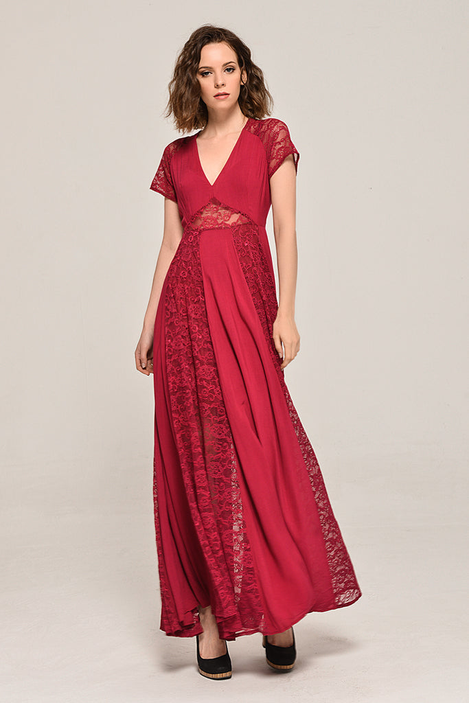 Solid Elegant My Fair Lady Lace Dress In Red – Cesila