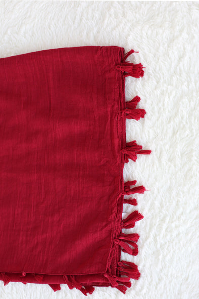 Soild Red Scarf With Tassel Trim