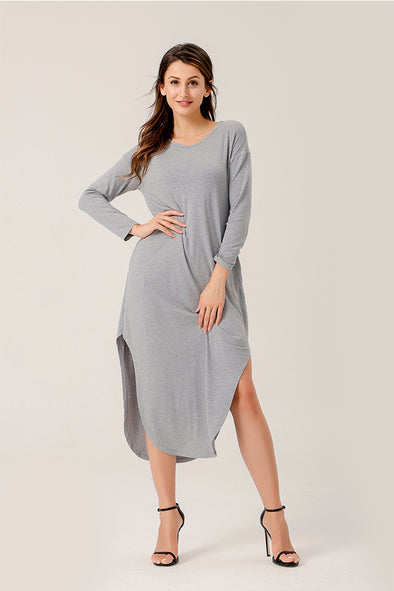 Perfect Life Shift Swing Dress In Gray
