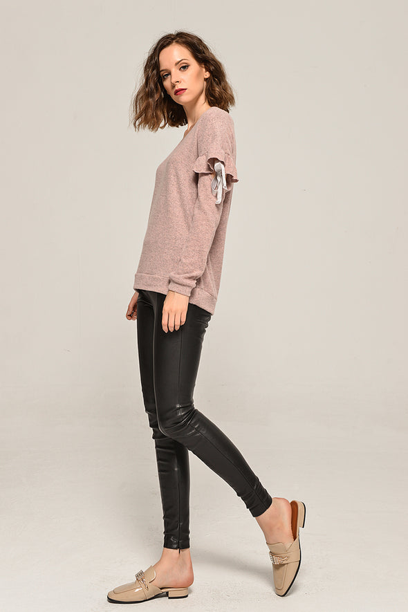 V-neck Knit Top With Sleeve Tie In Pink