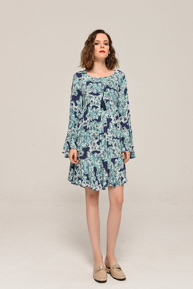 Love At First Sight Bell Sleeve Dress In Blue