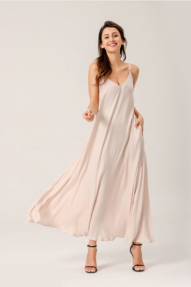 This Is Love Maxi Dress With Pockets In Apricot