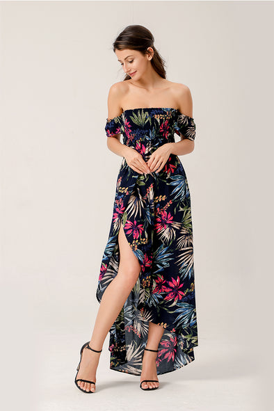 California Off The Shoulder High Low Floral Print Dress