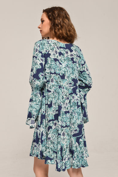 Bell Sleeve Love At First Sight Dress In Blue