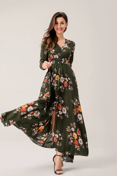 Floral Print Whispers Of The Fall Maxi Dress
