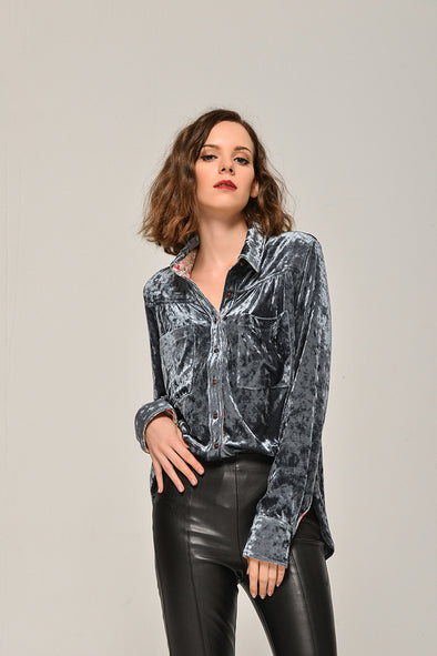 Soft Heart Casual Velvet Blouse In Navy