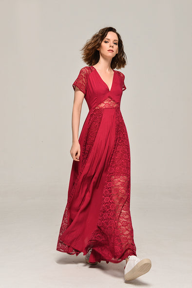 My Fair Lady Elegant Lace Dress In Red