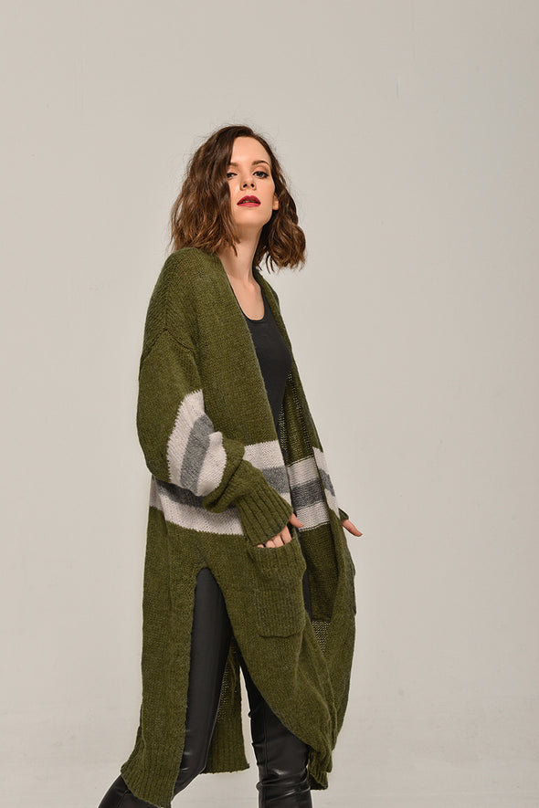 Open-Front Long-Line Sweater Pocketed Cardigan In Light Green