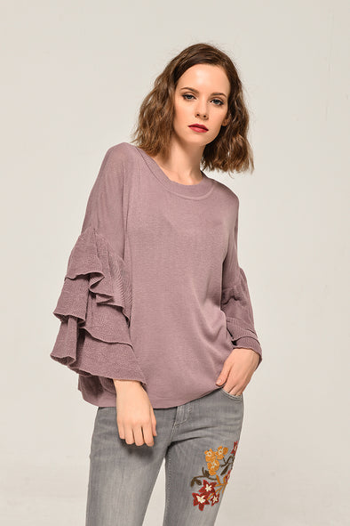 Ruffle Sweater Cozy Time Blouse In Pink