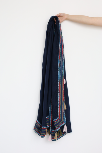 Tassel Detail Blue Scarf With Fine Embroidery