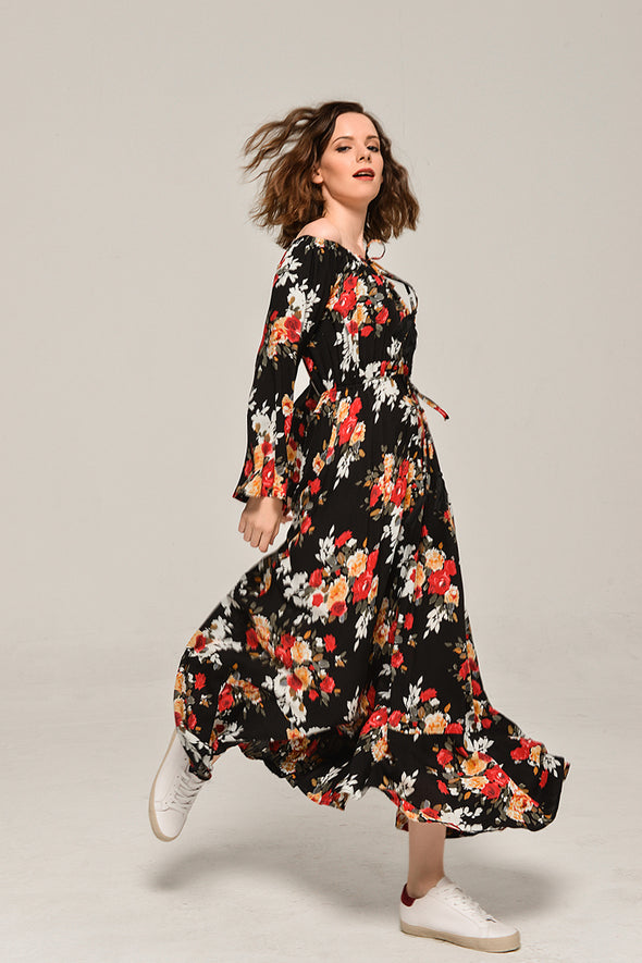 Boho Floral Print Slip Away On A Vacation Dress
