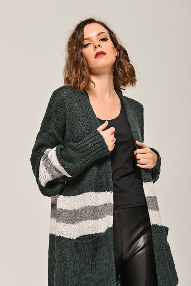 Open-Front Long-Line Sweater Pocketed Cardigan In Dark Green