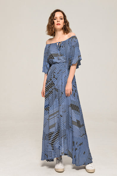 Off Shoulder Hippie Floral Chic / Maxi Dress 2018 Fashion Woman Dress-S-M-L