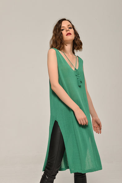 Sleeveless Knit Dress With Tassel In Green