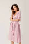 Air Of Romance Button-front Midi Dress In Pink
