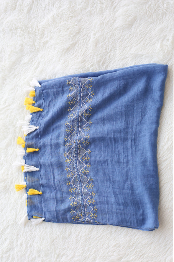 Embroidery Blue Scarf With Tassel