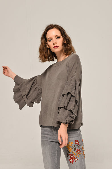 Ruffle Sweater Cozy Time Blouse In Gray