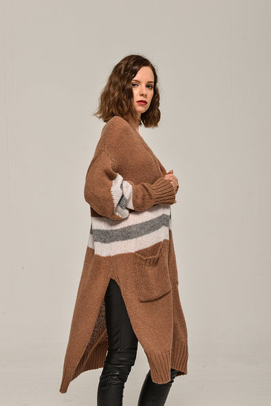 Open-Front Long-Line Sweater Pocketed Cardigan In Brown