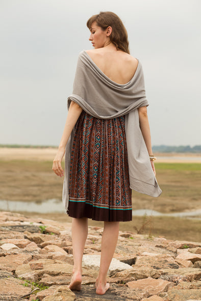 Boho A Line Vintage Pleated Midi Skirt
