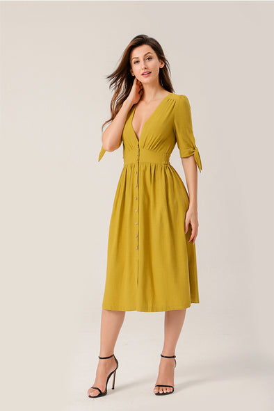 Air Of Romance Button-front Midi Dress In Yellow