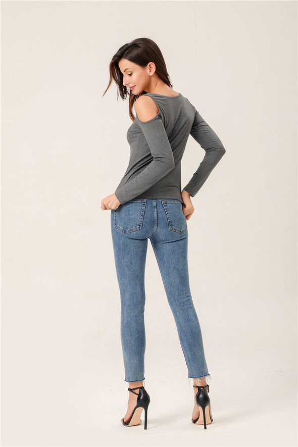 Always Cool Solid Hollow Out Top In Gray
