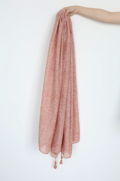 Solid Pink Scarf With Tassel