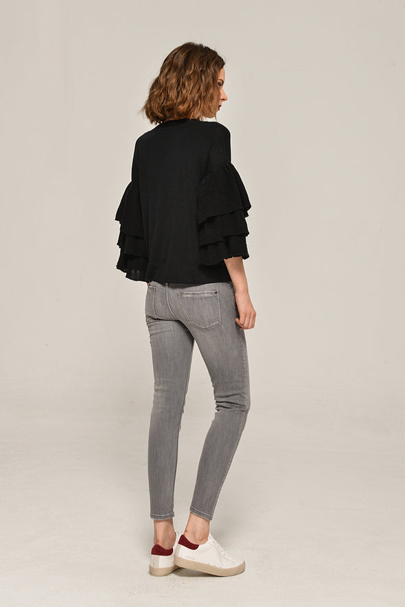 Ruffle Sweater Cozy Time Blouse In Black