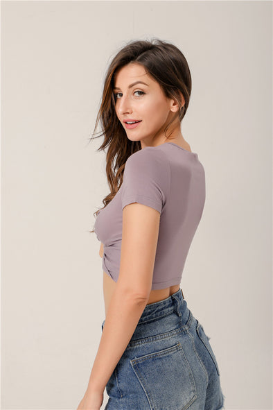 Love Story Knotted Cropped Top In Purple