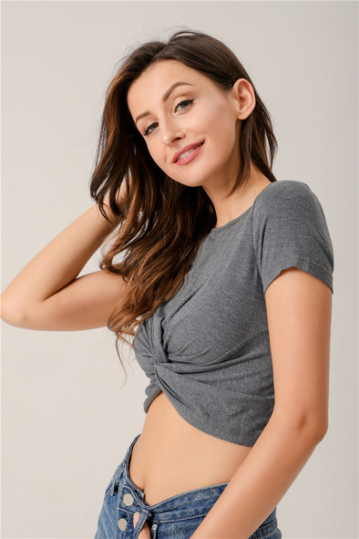 Love Story Knotted Cropped Top In Dark Gray